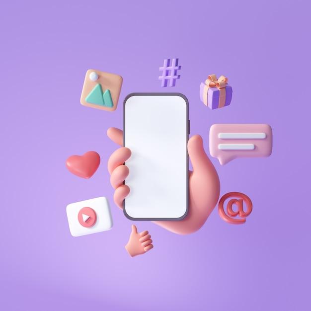 3d online social media communication platform concept hand holding phone with emoji
