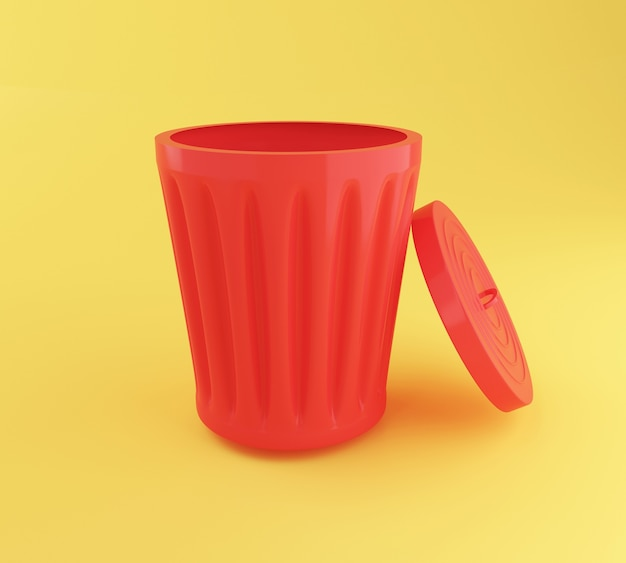 3d open red trash can. Premium Photo