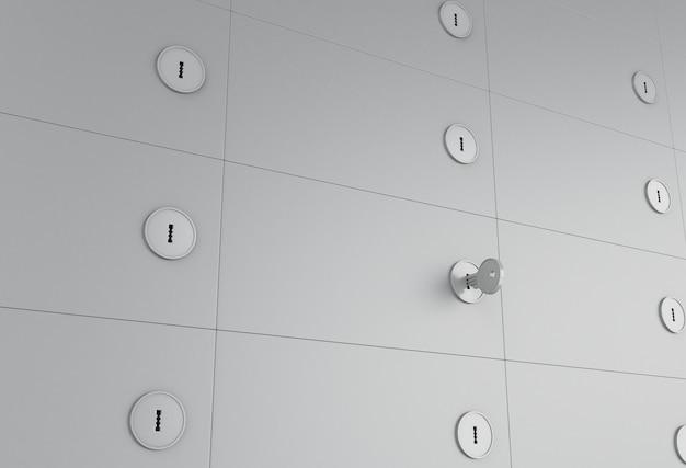 3d open safe deposit box with key on keyhole. Premium Photo