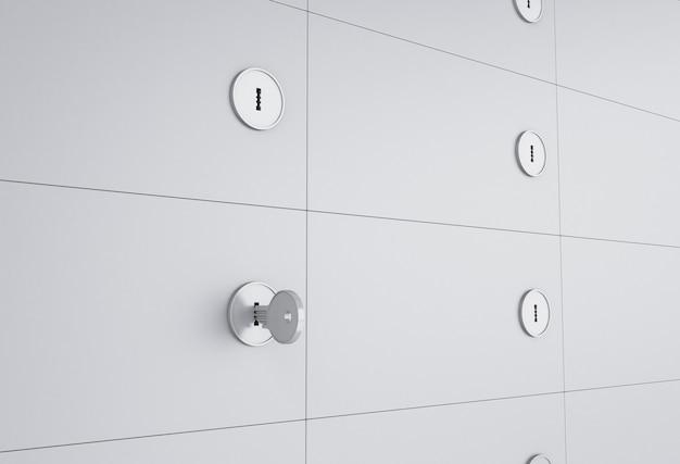 3d open safe deposit box with key on keyhole. | Premium Photo