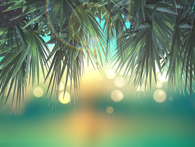 3d palm tree leaves on defocussed background Photo | Free Download