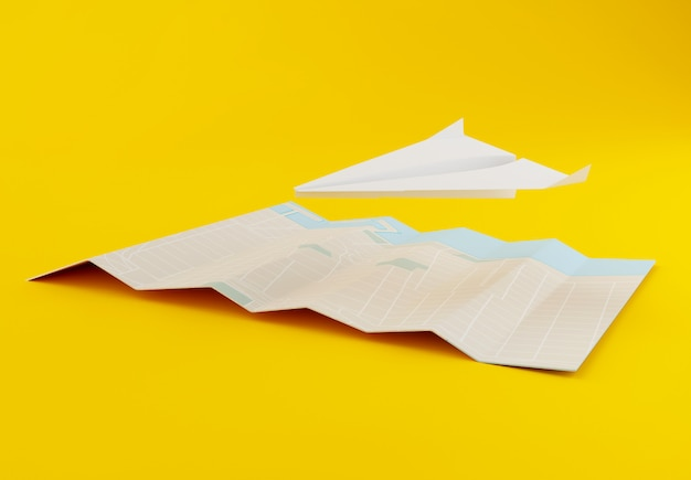 3d paper airplane with world map Premium Photo