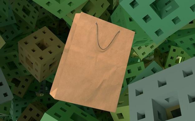 3d бумажный пакет для покупок на кубиках с фоном дырок Бесплатные Фотографии