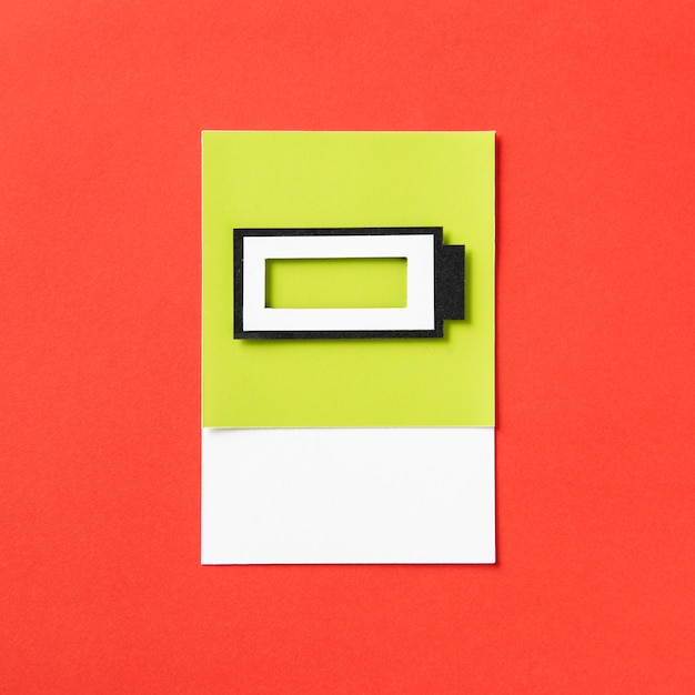 3d paper craft art of a charging battery Free Photo