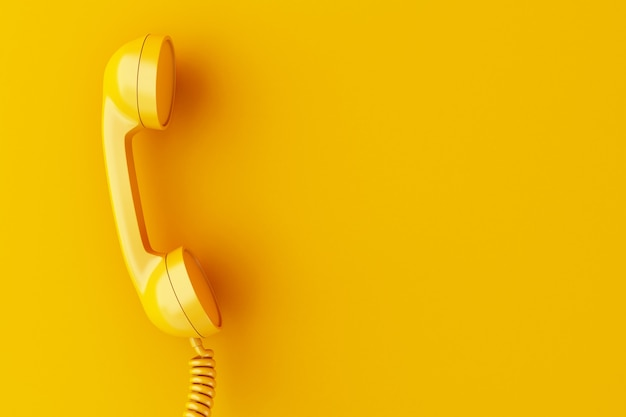 3d phone reciever on yellow background. Premium Photo