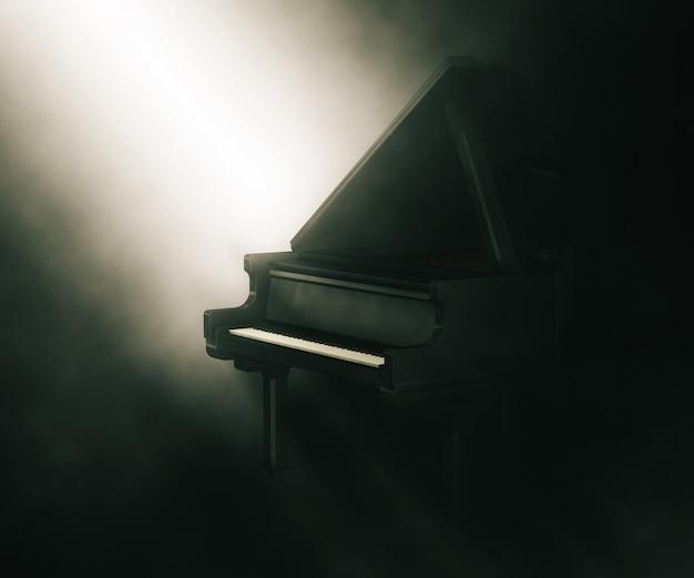 3d piano under moody lighting Free Photo