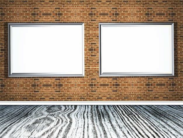 3d picture frames on a brick wall with wooden floor Free Photo