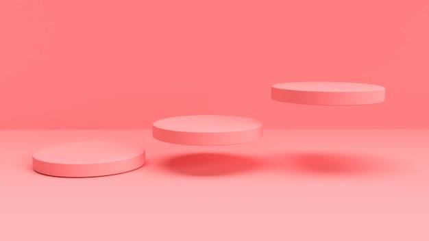 3d розовый фон с плавающими круглыми формами Premium Фотографии