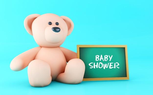 3d pink teddy bear with blackboard. Premium Photo