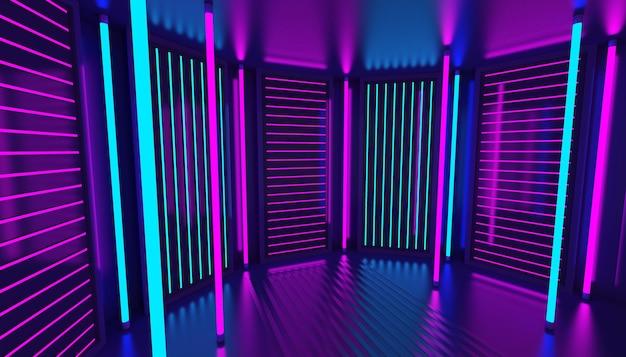 3d 핑크 바이올렛 블루 네온 추상적 인 배경입니다. 나이트 클럽 인테리어. 자외선 연단 장식 빈 방. 빛나는 벽면. 세우다. 프리미엄 사진