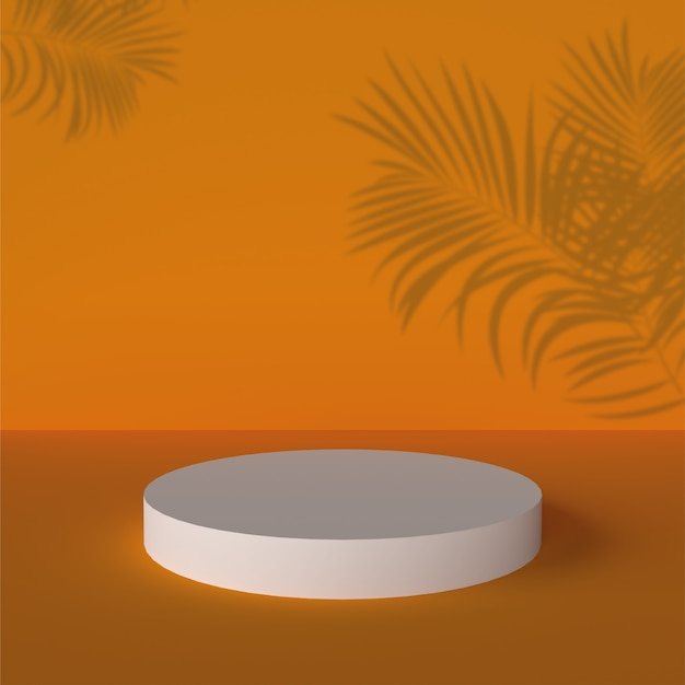 3d 연단 Backgraund 배경 오렌지 현실적인 렌더링 배경 플랫폼 스튜디오 조명 스탠드 프리미엄 사진