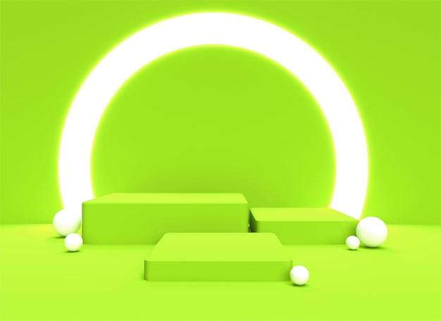 3d 연단 Backgraund 배경 파스텔 부드러운 녹색 현실적인 렌더링 배경 플랫폼 스튜디오 조명 스탠드 프리미엄 사진
