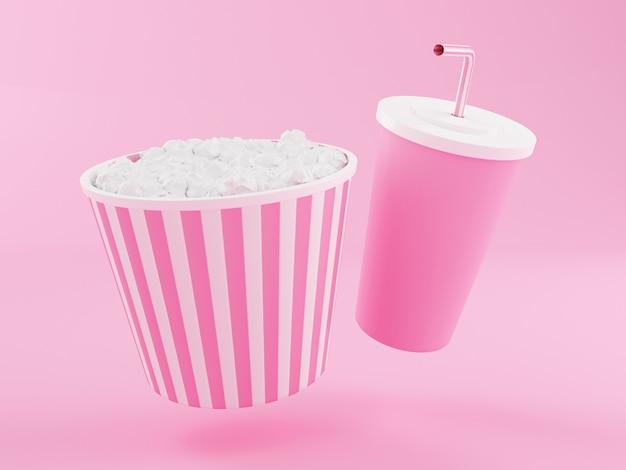 3d popcorn and drink. Premium Photo