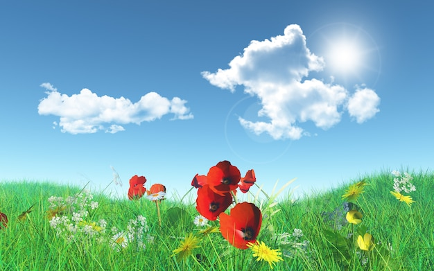 3d poppies in a grassy landscape Free Photo
