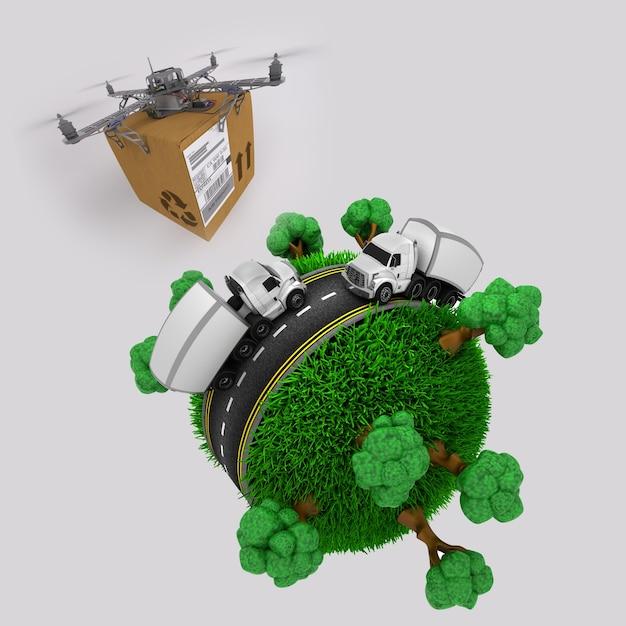 3d визуализации quadcopter летательный аппарат с участком пролетел над травяное земного шара с грузовиков Бесплатные Фотографии