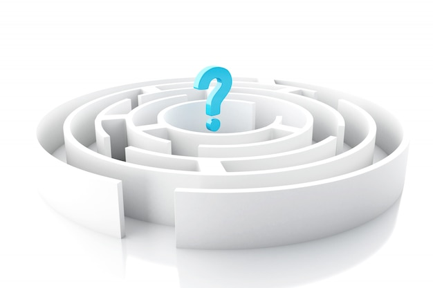 3d question mark in circular maze Premium Photo
