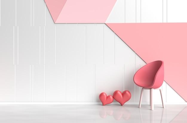 愛のインテリア赤い椅子、赤い心、ピンク赤の壁の白赤ピンクの部屋。バレンタインデー。 3d r Premium写真