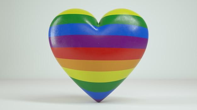 3d rainbow heart white background render Premium Photo