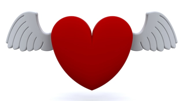 3d red heart with wings Free Photo
