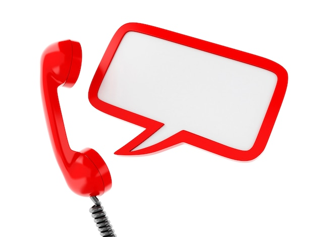 3d red telephone and blank speech bubble. Premium Photo