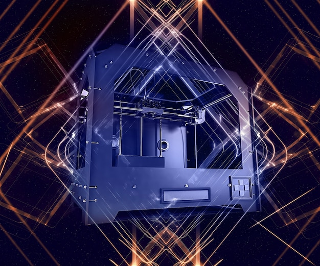 3d render of 3 dimensional printer on abstract background Free Photo