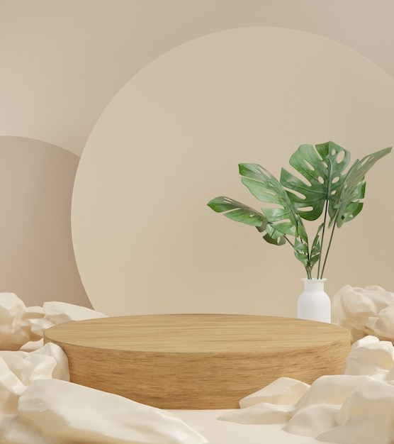 3d render abstract background, cosmetic products podium scene with platform, for show cosmetic prod