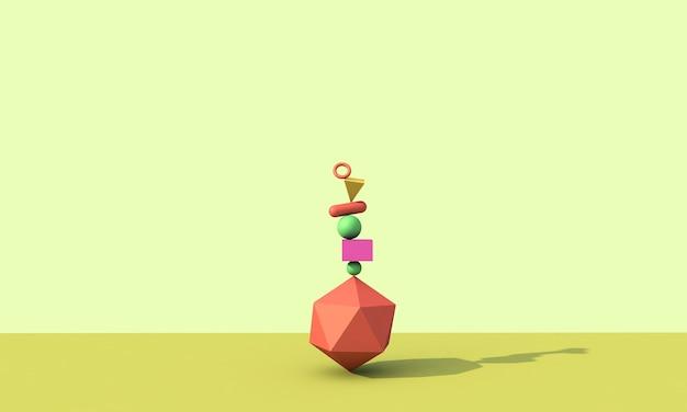 3d 렌더링, 추상적 인 배경, 떨어지는 기하학적 기본 도형, 화려한 요소 프리미엄 사진
