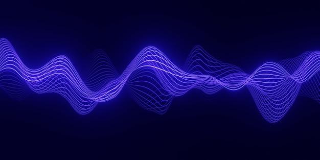 3d визуализация абстрактный фон с синей волной плавных частиц над темными, плавными линиями формы кривой Premium Фотографии