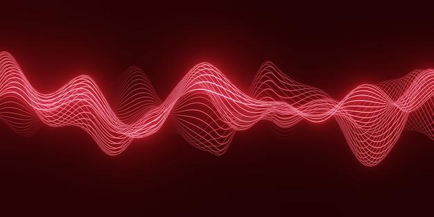 3d визуализация абстрактный фон с красной волной плавных частиц над темными, плавными линиями формы кривой Premium Фотографии