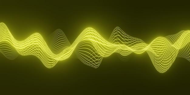 暗くて滑らかな曲線の形の線の上に流れる粒子の黄色い波で抽象的な背景をレンダリングします Premium写真