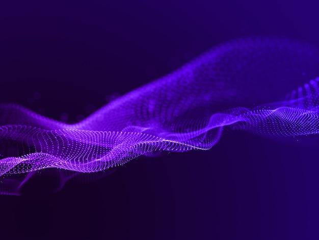Rendering 3d di uno sfondo astratto con particelle fluenti Foto Gratuite