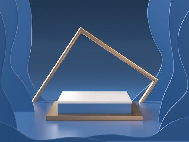 3d render of abstract blue room with podium and golden frame Premium Photo