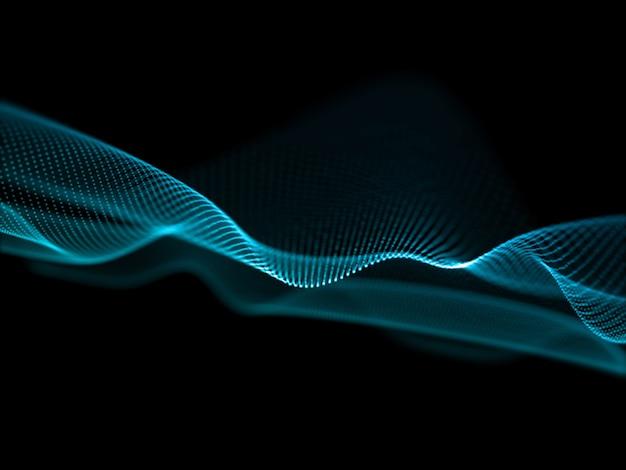 Rendering 3d di un flusso astratto con disegno a onde di particelle Foto Gratuite