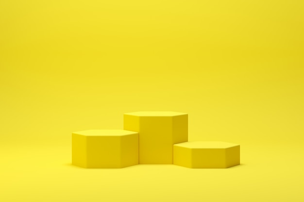 3d render abstract geometry shape podium scene with yellow background for display and product Premium Photo
