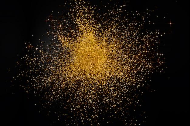 3d render of abstract golden dust particle splash on black backg Premium Photo