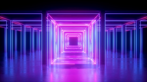 3d render, abstract neon background, pink glowing lines, square shape, corridor, ultraviolet light, virtual reality space Premium Photo