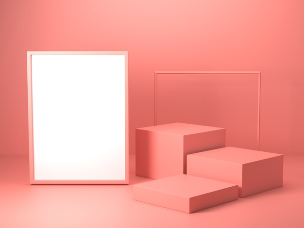 3d render of abstract pink color geometric shape , modern minimalist mockup for podium display or showcase Premium Photo