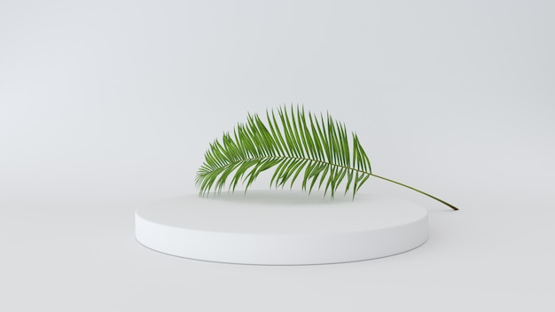3d render of abstract platform with palm leave. geometric figures in modern minimal design. Premium Photo