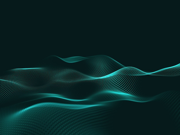 Rendering 3d di una tecnologia astratta con particelle fluenti Foto Gratuite