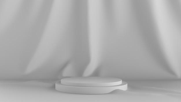 3d 렌더링 추상 흰색 배경입니다. 무대 쇼와 천을 다시 착용하십시오. 프리미엄 사진