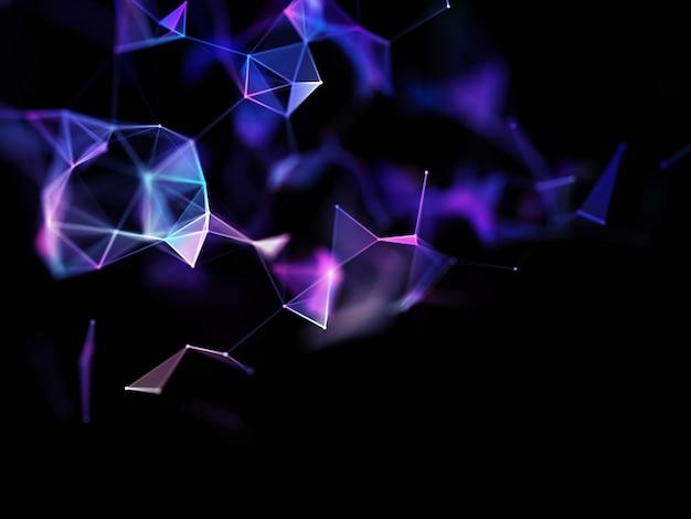 Rendering 3d di un abstract con linee e punti di collegamento, comunicazioni moderne Foto Gratuite