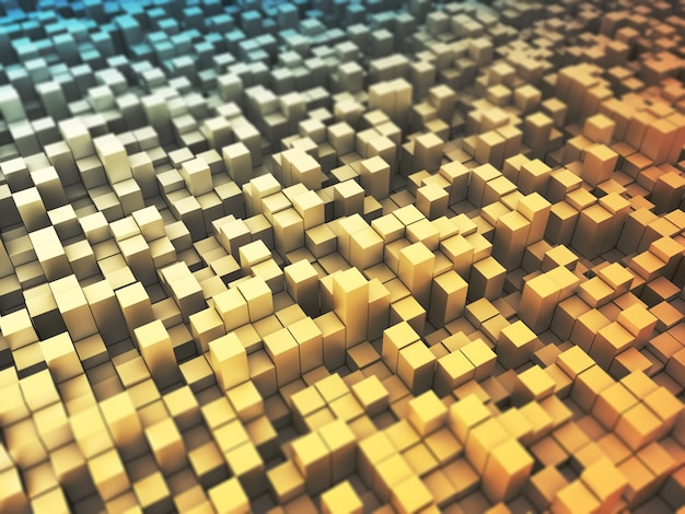 3d render of an abstract with extruding blocks Free Photo