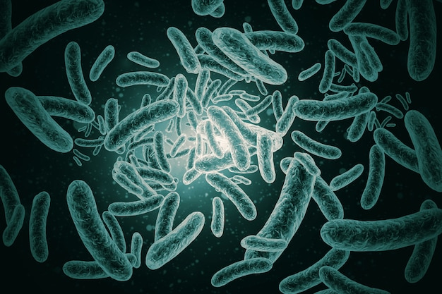 3d render of bacteria, virus, cell Premium Photo