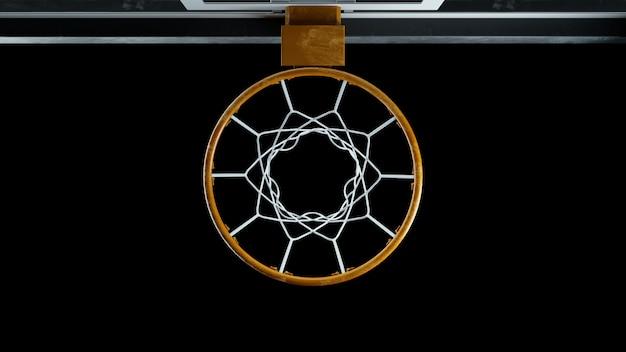 3d визуализация баскетбольное кольцо вид сверху на черном фоне Premium Фотографии