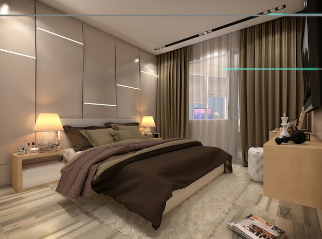 3d render bedroom in a private house in brown and beige colors Premium Photo