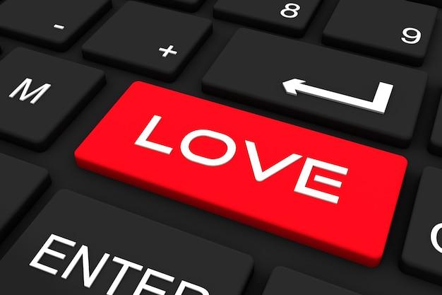 3dレンダリング。愛のキーと黒のキーボード、愛の概念を検索しています。 Premium写真