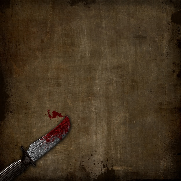 3d render of a bloody dagger on a grunge background Free Photo