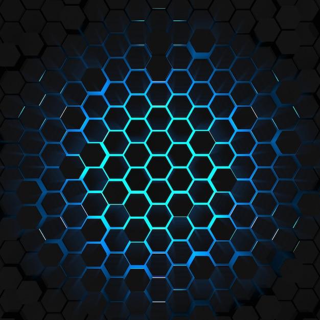3d render blue light hexagon background top view Premium Photo