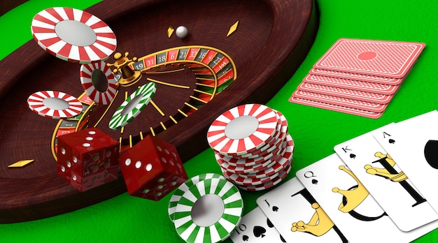 3d render of casino items Free Photo