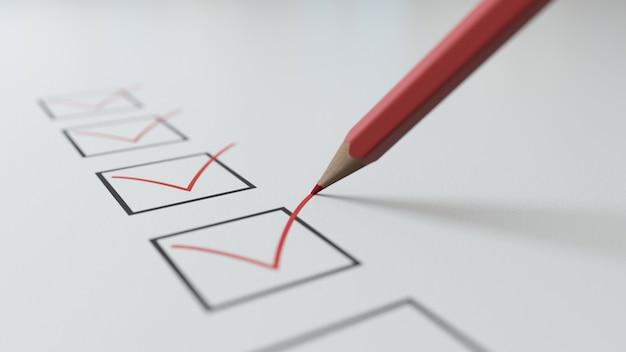 3d render checklist a red pencil will tick in black squares Premium Photo